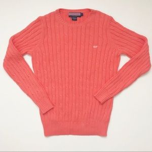 Vineyard Vines Coral Pink Cable Knit Sweater S EUC